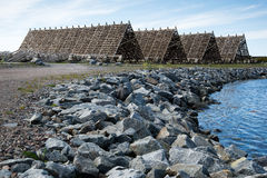 Wooden buildings for fish drying, Lofoten Islands. Photo of wooden buildings for fish drying on Lofoten Islands, Norway. Nature photography Royalty Free Stock Images