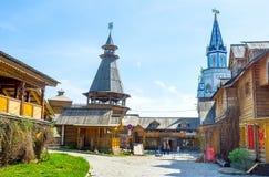 The wooden buildings in Izmailovsky Kremlin Royalty Free Stock Photos