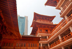 Wooden Buildings Jing An Temple Shanghai Royalty Free Stock Image