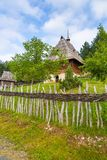 Wooden buildings in the open-air museum Sirogojno, Serbia. royalty free stock images