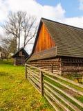 Wooden buildings of Vesely Kopec folk skansen. Czech rural architecture. Vysocina, Czech Republic Royalty Free Stock Image