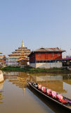 Wooden buildings at the village in Inlay lake, Myanmar Stock Image