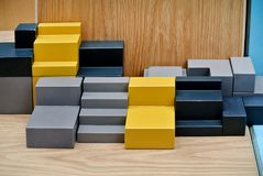 The wooden buildings. The yellow gray and black wooden buildings royalty free stock photography