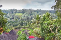 Wooden bulgalows on a hill on Bali, Indonesia Stock Images