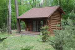 Wooden bungalow row in camping camp park in mountains. Wooden bungalow row in camping camp park royalty free stock photos