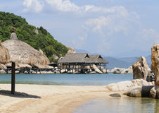 Wooden bungalows at Cam Ranh bay in Nha Trang, Vietnam.  stock photos