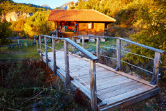 Wooden bungalows on campsite Stock Images