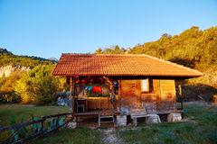 Wooden bungalows on campsite Royalty Free Stock Image