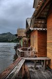 Wooden bungalows on the Kwai river in Kanchanaburi royalty free stock photography