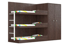 Wooden Bunk Bed. 3d Rendering. Wooden Bunk Bed on a white background. 3d Rendering Royalty Free Stock Images