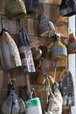 Wooden fishing buoys royalty free stock photo