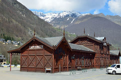 Wooden bus station in Cauterets, French Pyrenees Stock Photos