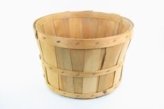 Wooden bushel. Still image of front view of wooden bushel over white background stock image