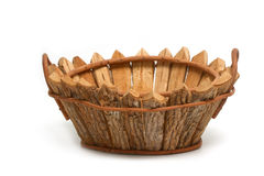Wooden bushel ,empty basket Royalty Free Stock Images