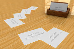 Wooden Business cards Holder Stock Photo