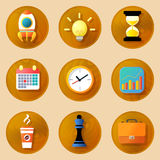 Wooden business icons set Royalty Free Stock Images