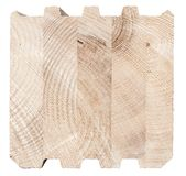 Wooden  butt-joint. Wooden brick construction on the white background Royalty Free Stock Images
