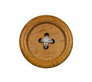 Wooden button on the white background Royalty Free Stock Images