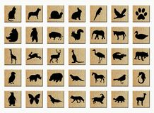 Wooden buttons with animals stock illustration