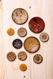 Wooden buttons. Close up color shot of some wooden buttons stock images