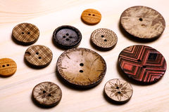 Wooden buttons. Close up color shot of some wooden buttons royalty free stock photo
