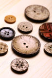 Wooden buttons. Close up color shot of some wooden buttons Royalty Free Stock Images