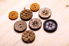 Wooden buttons. Close up color shot of some wooden buttons Stock Image