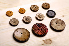 Wooden buttons. Close up color shot of some wooden buttons Stock Photography