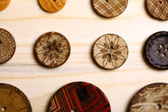 Wooden buttons. Close up color shot of some wooden buttons stock photos
