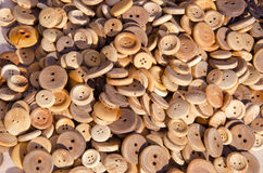 Wooden buttons in the fair Stock Images