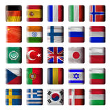 Wooden buttons, flags Stock Photos