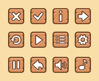 Wooden buttons for game stock illustration