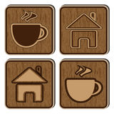 Wooden buttons with icons of a small house and a. Vector illustration with the image of wooden buttons with icons of a small house and a cup of coffee Royalty Free Stock Photography