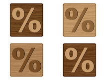 Wooden buttons percent Royalty Free Stock Photo