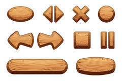 Wooden buttons set for game ui. Vector cartoon illustrations. Game wood button texture for interface Royalty Free Stock Photos