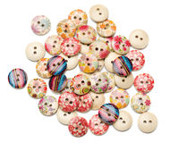 Wooden buttons on white Stock Photography