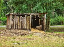 Wooden cabin for animals with laid sheep Stock Photography