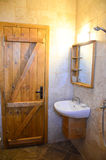 Wooden cabin bathroom Royalty Free Stock Image