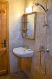 Wooden cabin bathroom Stock Image