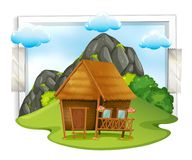Wooden cabin in the field royalty free illustration