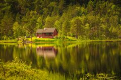 Wooden cabin in forest on lake shore, Norway Stock Images