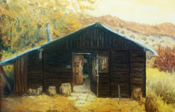 Wooden cabin in a forest in the mountains, painting sepia effect.  royalty free illustration