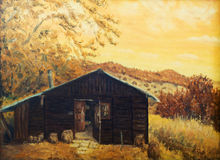 Wooden cabin in a forest in the mountains. Painting sepia effect, retro effect stock illustration