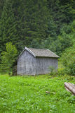 Wooden cabin with green mountain in Tirol Stock Photo