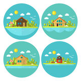Wooden Cabin Holiday House Landscape Circle Flat Icon Set Royalty Free Stock Images