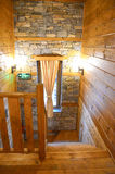 Wooden cabin interior Stock Images