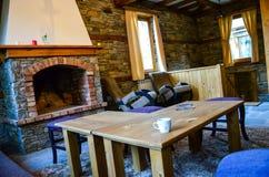 Wooden cabin interior Stock Photos
