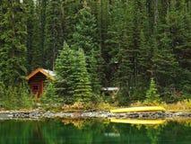 Wooden cabin at Lake O'Hara, Yoho National Park, Canada Royalty Free Stock Image