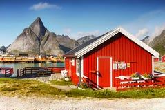 Wooden Cabin on Lofoten Royalty Free Stock Photo