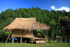 Wooden cabin near the mountain. In Thailand Stock Image